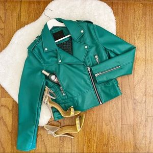 Blank NYC Coastal Green Moto Jacket Medium